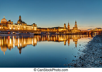 The skyline of Dresden in Germany at dawn