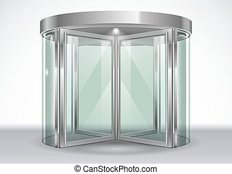 Revolving door shopping center. Vector graphics with...