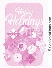 Decorated Workspace Desk With Presents Top Angle View Vector...