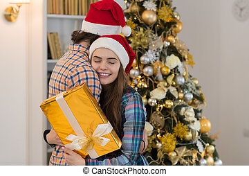 Christmas Holiday Happy Couple Wear New Year Santa Hat Cap,...