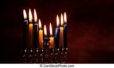 Jewish holiday Hanukkah Beautiful Chanukah decorations in...