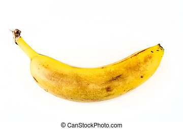 One old yellow banana isolated on white background