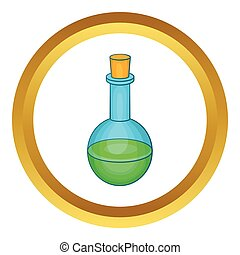 Flask with green potion vector icon