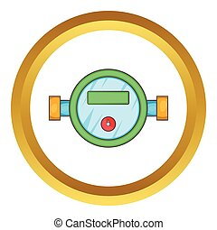 Water meter vector icon in golden circle, cartoon style...