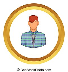 Young man with microphone vector icon in golden circle,...