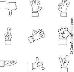 Fingers icons set, outline style - Fingers icons set....