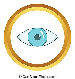 Blue eye vector icon in golden circle, cartoon style...