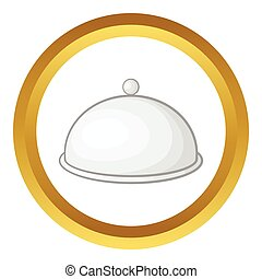 Restaurant cloche vector icon in golden circle, cartoon...