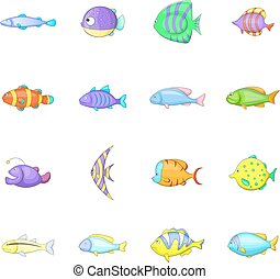 Different fish icons set, cartoon style - Different fish...
