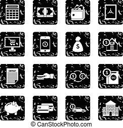 Credit set icons, grunge style