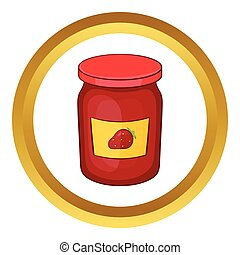 Jar of strawberry jam vector icon in golden circle, cartoon...