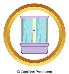Shower cubicle vector icon in golden circle, cartoon style...