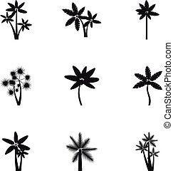 estilo, Palmas, iconos, Conjunto,  simple, negro