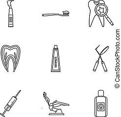 Stomatology icons set, outline style - Stomatology icons...