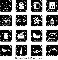 Waste and garbage set icons, grunge style - Waste and...