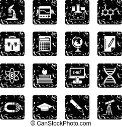 Education set icons, grunge style