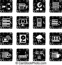 Big data set icons, grunge style - Big data set icons in...