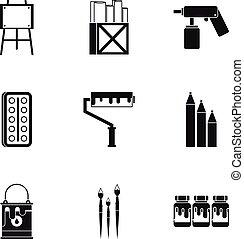 Conjunto,  simple, estilo, Pintura, iconos