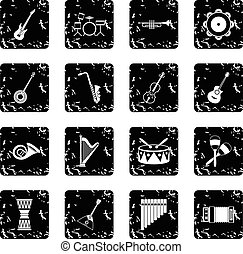 Musical instruments icons set , simple style - Musical...
