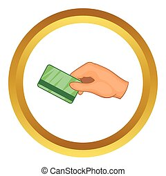 Hand with hotel room key card vector icon in golden circle,...