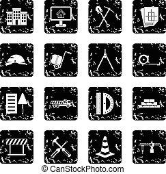 Construction set icons, grunge style