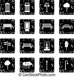 Park set icons, grunge style