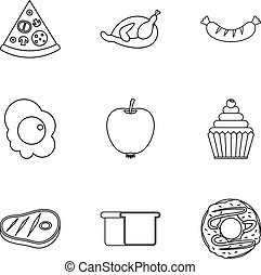 Breakfast icons set, outline style