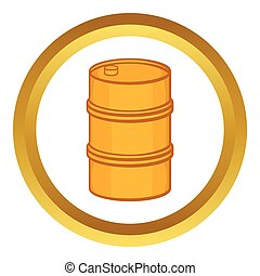 Orange barrel vector icon in golden circle, cartoon style...