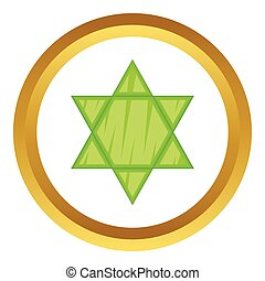 Star of David vector icon in golden circle, cartoon style...