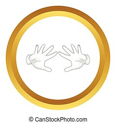 Magician hands in white gloves vector icon in golden circle,...