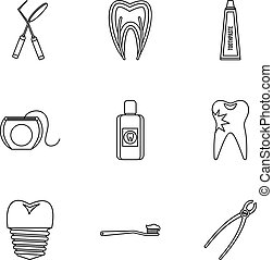 Dental clinic icons set, outline style