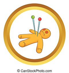 Voodoo doll vector icon in golden circle, cartoon style...