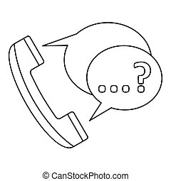 Handset with speech bubbles icon, outline style - Handset...