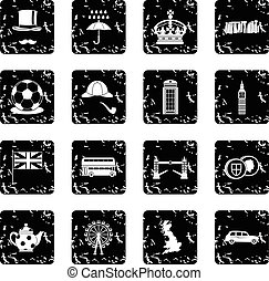 Great Britain set icons, grunge style
