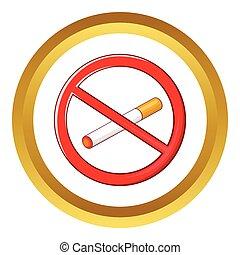 No smoking sign vector icon in golden circle, cartoon style...