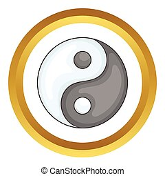 Ying yang vector icon in golden circle, cartoon style...