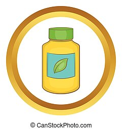 Supplement vector icon in golden circle, cartoon style...
