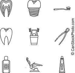 Teeth icons set, outline style