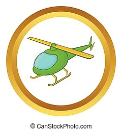 Green helicopter vector icon