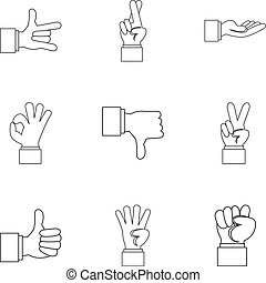 Communication gestures icons set, outline style