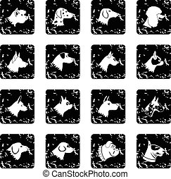 Dog set icons, grunge style - Dog set icons in grunge style...