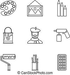 Conjunto, estilo, arte, contorno, iconos