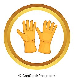Rubber gloves vector icon in golden circle, cartoon style...