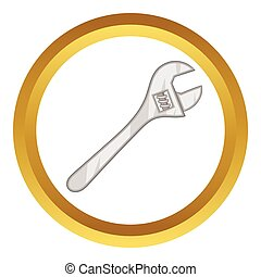 Wrench adjustable spanner vector icon in golden circle,...