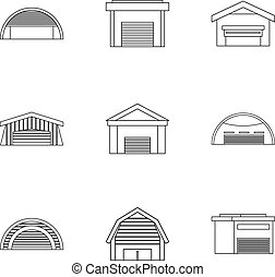 Storage icons set, outline style