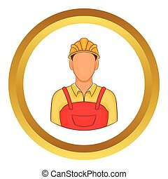 Builder vector icon in golden circle, cartoon style isolated...