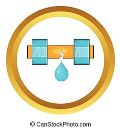 Dripping water pipe vector icon in golden circle, cartoon...