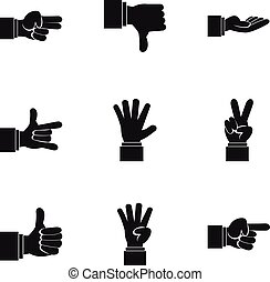 Gesture icons set, simple style - Gesture icons set. Simple...