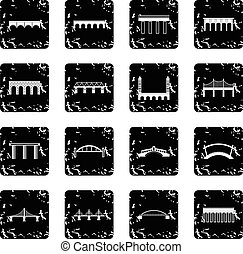 Bridge set set icons, grunge style - Bridge set icons in...