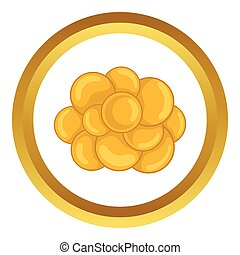Group of viruses vector icon in golden circle, cartoon style...